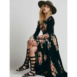 Free People First Kiss Black Garden Floral Dress